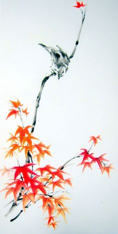 """""""Sparrow on Maple branch"""" painted with Sumi - ink and Gansai (Japanese watercolor) on the Japanese rice paper (gasenshi)."""