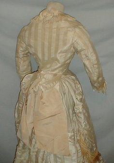 Gossamer-1870-039-s-Ribbon-Stripe-Silk-Bustle-Dress-Museum-De-accessioned
