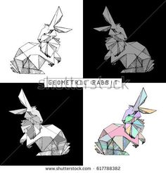 Vector hand drawn geometric rabbit. Rabbit stylized  polygonal model. Different color combinations. Linear image. Origami. Low poly-illustration