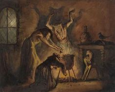 Scene of Three Witches from Shakespeare's Macbeth, George Cattermole, 1800 - 1868 Arte Horror, Horror Art, Horror Comics, Fantasy Kunst, Fantasy Art, Wicca Kunst, Witch Painting, Weird Sisters, Three Witches