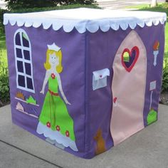 Princess Playhouse in Purple with Curtains, Super Size, 48 Inches High and Square, Custom Order, Personalized
