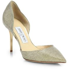 Jimmy Choo Addison Glitter Lame D'Orsay Pumps ($665) ❤ liked on Polyvore featuring shoes, pumps, heels, apparel & accessories, gold, jimmy choo pumps, shiny shoes, metallic pumps, d'orsay shoes and glitter pumps