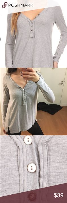 Grey Henley Top Solid, waist length long sleeve top in a relaxed style with a scoop neck and a button Zara Tops Tees - Long Sleeve