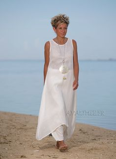 Natural white layered linen gauze tunic