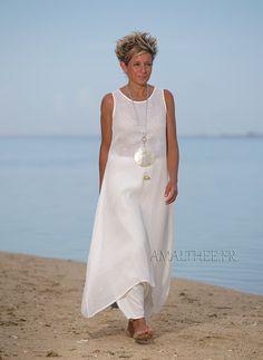 Natural white layered linen gauze tunic