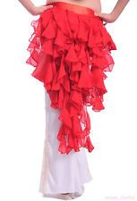 New Belly Dance Wave tassel Hip Scarf Skirt Red color