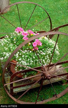"Antique spoked wheeled cart bursting with flower power. ""Otter Tail"" County Minnesota MN USA Stock Photo"