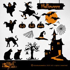 Halloween cliparts Halloween Illustration by BlackCatsMedia, $2.50