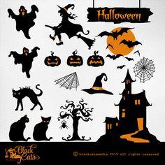 Halloween cliparts Halloween Illustration by BlackCatsMedia, $2.50