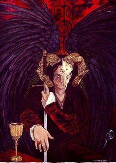 - Stuart Littlejohn, The Horned One.  [#Azazel] #Artgoetia #Art #Paint #Gods #Demoni #Demonic #Demon