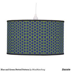 Blue and Green Netted Pattern Ceiling Lamp