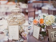 Birdcage centerpieces with flowers inside