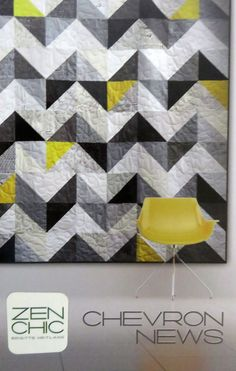 Chevron News - by Zen Chic - Modern Patchwork Quilt Pattern Colchas Quilting, Quilting Projects, Quilting Designs, Modern Quilting, Quilt Design, Machine Quilting, Patchwork Quilt Patterns, Pattern Fabric, Quilting Patterns