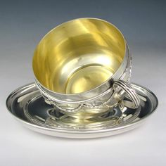 Antique French Sterling Silver PUIFORCAT Large Chocolate, Coffee or Tea Cup & Saucer, Neoclassical, 354.8g