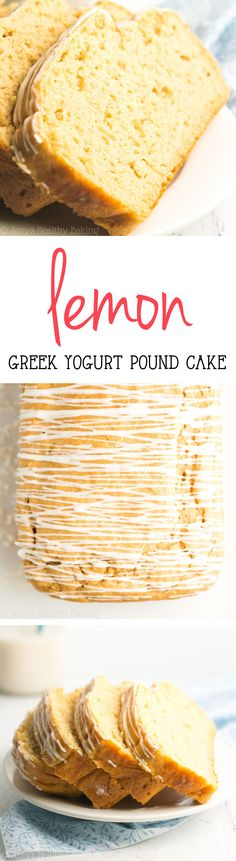 Healthy Greek Yogurt Lemon Pound Cake -- just 123 calories with 6g+ of protein! This easy recipe is SO good & secretly healthy enough for breakfast!