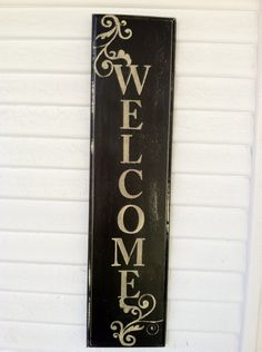 Hand Painted Aged Wooden Welcome Sign by Lauralei Design