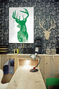 Rustic type wallpaper and green deer print