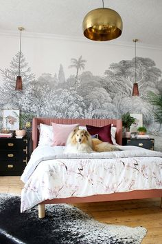 Sheltie dog on pink bed with black and white wall mural and gold accents. White And Gold Bedroom Tum Pink Bedroom Design, Pink Bedroom Decor, Glam Bedroom, White Bedroom Furniture, Trendy Bedroom, Home Bedroom, Bedroom Ideas, Black Furniture, Grey And Gold Bedroom
