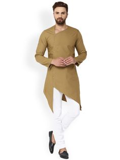 See Designs Men Khaki Solid Straight Kurta - Mens Indian Wear, Indian Groom Wear, Indian Men Fashion, Mens Fashion Wear, Suit Fashion, Green Fashion, Gents Kurta Design, Boys Kurta Design, Kurta Pajama Men