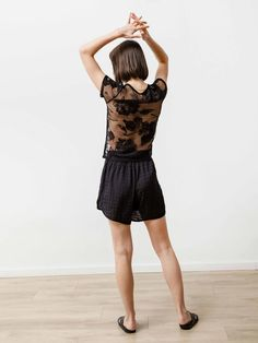 Feels like: Italian floral appliqué lace with subtle stretch Viscose; Lace Tee, Black Laces, Workout Shorts, Short Sleeve Tee, Floral Lace, Vancouver, Short Dresses, Feels, Canada