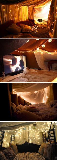 20 Ideas Birthday Surprise Bedroom Gift Ideas For 2019 Sleepover Room, Fun Sleepover Ideas, Indoor Forts, Indoor Camping, Hygge, Dream Dates, Cute Date Ideas, Deco Originale, Perfect Date