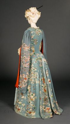 """Kimono dressing gown, c. 1885.  This blue dressing gown began as a 'furisode,' or """"swinging sleeves"""" kimono, a type worn only by young unmarried women, but was converted into a Victorian styled dress.  For more information, click image."""