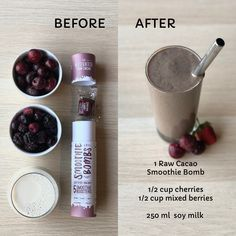 Makes 5 delicious chocolate smoothies! Our vitality booster combines a rich fusion of raw cacao, coconut, chia, nuts and seeds. Smoothie Recipes, Smoothies, Bombe Recipe, Fussy Eaters, Raw Cacao, Soy Milk, Delicious Chocolate, Berries, Coconut