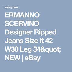 "ERMANNO SCERVINO Designer Ripped Jeans Size It 42 W30 Leg 34"" NEW  | eBay"