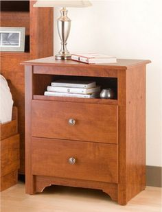 Two-Drawer Tall Nightstand With Open Cubbie Bedroom Furniture Cherry Finish New
