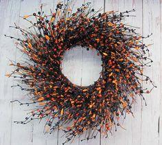 Fall Wreath  Primitive Berry Wreath  Halloween by Designawreath