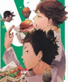 Tags: Scan, ZIS, Haikyuu!!, Hinata Shouyou, Kageyama Tobio, Sugawara Koushi, Oikawa Tooru, Nishinoya Yuu, Iwaizumi Hajime, Haikyuu!! Food Illustration Book