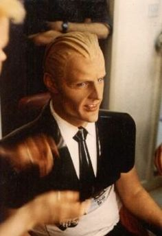 """Max Headroom (1980s) -  Preparing the look for filming involved a four-and-a-half hour session in make-up which Matt Frewer described as """"a very painful, torturous and disgusting enterprise""""."""