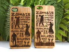Walking Dead Inspired iPhone 5 5S Bamboo Case. Zombie Attack Themed Cover. Eco-Friendly Wood Cover Skin. FREE SHIPPING