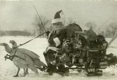 Santa and His Sleigh Pulled By Turkeys From Wisconsin Historical Society