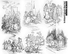 illustrations WILHELM M.BUSCH created in 1941 for the LEO NIKOLAYEVICH TOLSTOY novel – DER SILBERNE FUERST (knjaz sserebrjanyi).