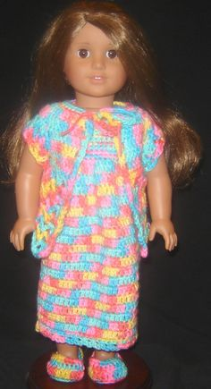 """Bizzy Crochet: Nightie, Robe & Slippers - 18"""" Doll Clothes Pattern. Pinned from original source by Dorothy. Happy crocheting!"""