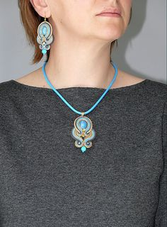 Blue gray graphite Soutache necklace with Jadeite. от ANBijou