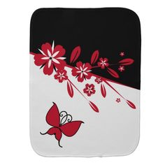 Stylish Modern Black White Red Butterfly Floral Burp Cloths