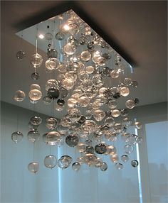 Artisan Crafted Lighting Bubbles Blown Glass Chandelier
