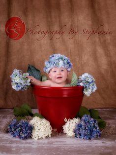 Blue Hydrangea Hat - Baby Photo Prop