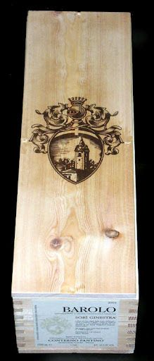 Beautiful Cote of Arms single bottle magnum wine crate from Barolo Italy