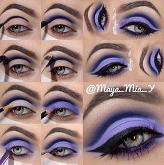 Awesome Purple Makeup by maya mia whose eye makeup tutorials are fabuloussss. Eye Makeup Blue, Purple Eyeshadow Looks, Eyeshadow Makeup, Bright Makeup, Dramatic Makeup, Dramatic Eyes, Asian Makeup, Korean Makeup, Drugstore Makeup