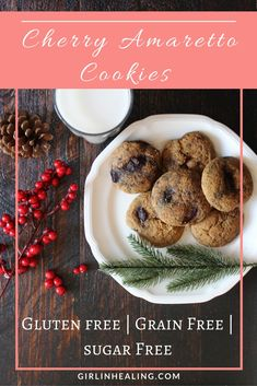 Gluten Free, Grain Free, Sugar Free, Paleo, Primal, Allergy Friendly, Cherries, Christmas Cookies, Holiday Cookies, Amaretto