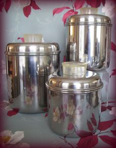 Vintage Stainless Steel Kitchen Canisters By Merrilyverilyvintage, $27.00