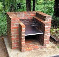 Wonderful Concrete Mix For The Base, Barbecue Grill Set, Bricks, Metal Brick .