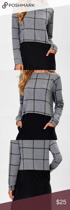 Plaid with jacquard raglan sleeve dress Plaid jacquard raglan sleeve dress with washed modal woven skirt with pocket detail. Hailey & Co Tops Tunics