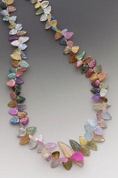 """""""Fiesta"""" Necklace with Fancy Sapphire Leaves and 18K Gold by Elle Schroeder"""