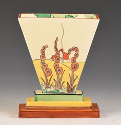 One of the best and one of the rarest Art Deco shape vases Clarice produced. Known from about 8 examples in total the 642 shape is classic Art Deco in form and this one is decorated with one of the rarest of landscape designs - The green colourway of Bridgewater. | eBay!