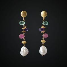 Nucleated Pearl Earrings with Pink Sapphire, Purple Amethyst, Apatite gemstones are simple, minimal, modern and elegant. Pink Sapphire Earrings, Gemstone Earrings, Beaded Earrings, Earrings Handmade, Beaded Jewelry, Pearl Earrings, Drop Earrings, Silver Earrings, Jewellery Uk