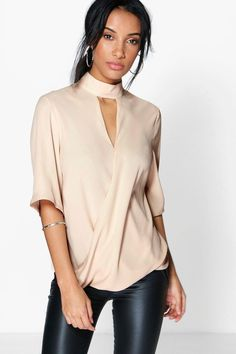 High Neck Cut Out Choker Wrap Front Blouse - Natural - Boohoo Tops Sequin Crop Top, Lace Crop Tops, Saris, Photographer Outfit, Moda Formal, Maya, Bralette Crop Top, Lace Camisole, Evening Tops